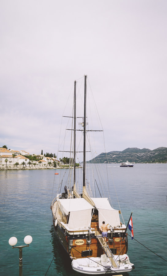 Boat at the harbour of Korcula
