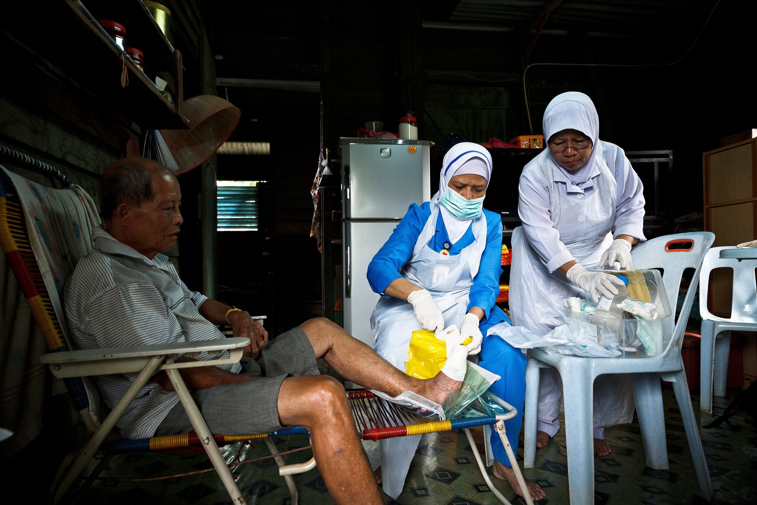 The medical staff will visit the residents at the chalets to help them with their dressing. (photo by Mango Loke )