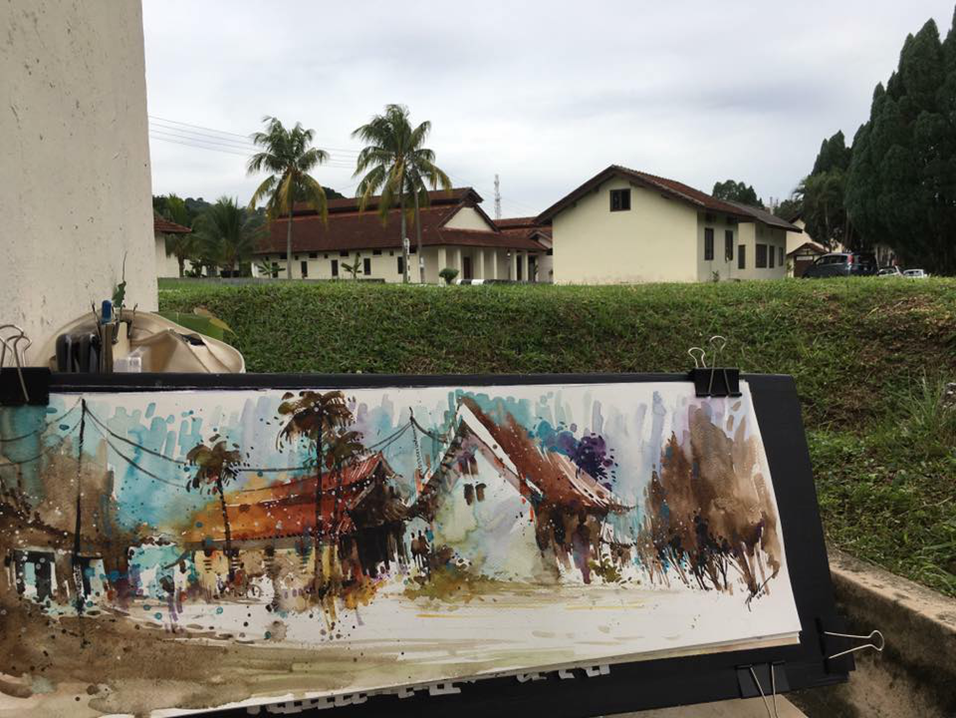 本地画家在希望之谷写生作画。(张集强 摄)