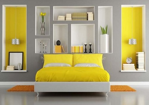gri-oda-sarı-yatak-aksan-renk