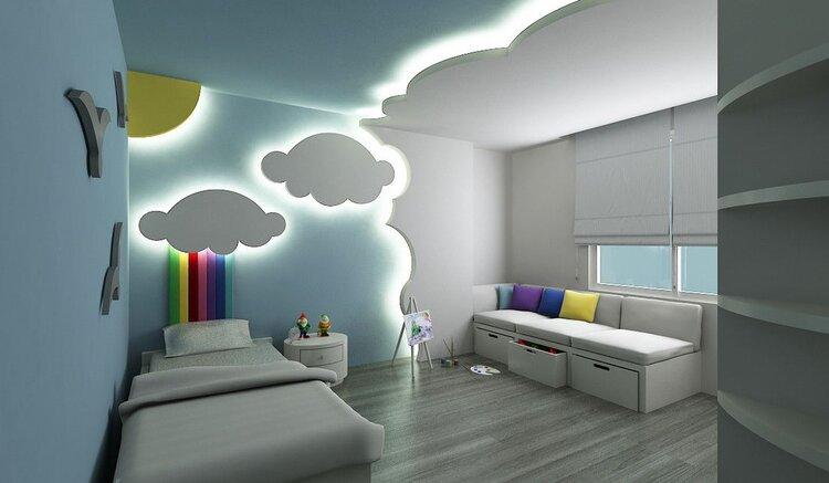Çocuk odası asma tavan tasarımları