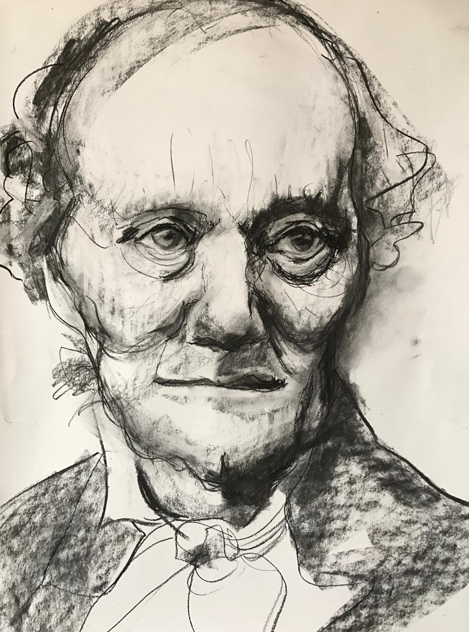 Portrait study in charcoal, Michele Owen February 2017