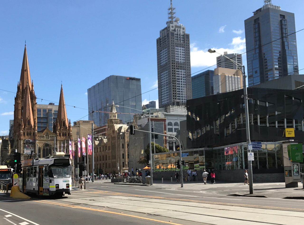 Towards Melbourne's most famous intersection with St Paul's in the distance