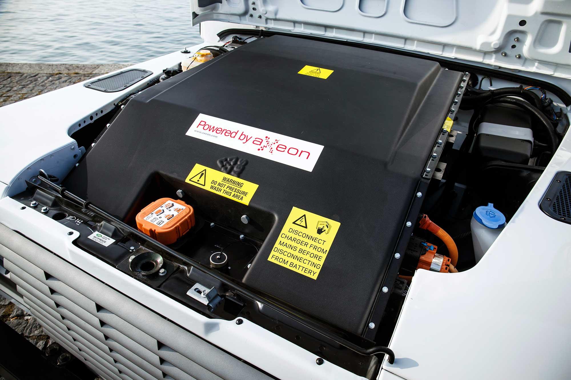 Engine bay in electric Defender