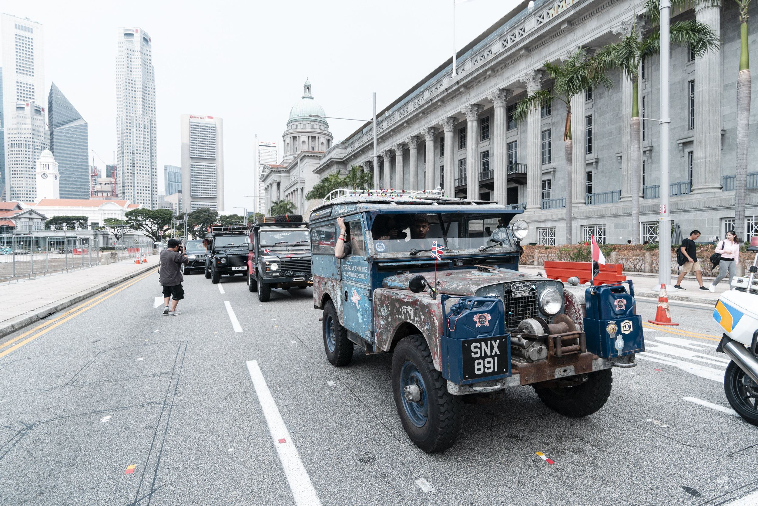 'Oxford' leads the expedition past Singapore's National Gallery during the official 'flag-off' day.