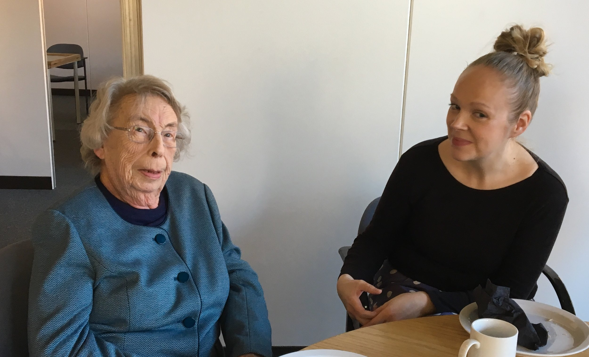 Sheila Mackie and Allie Mills having lunch after the seminar at NAEA