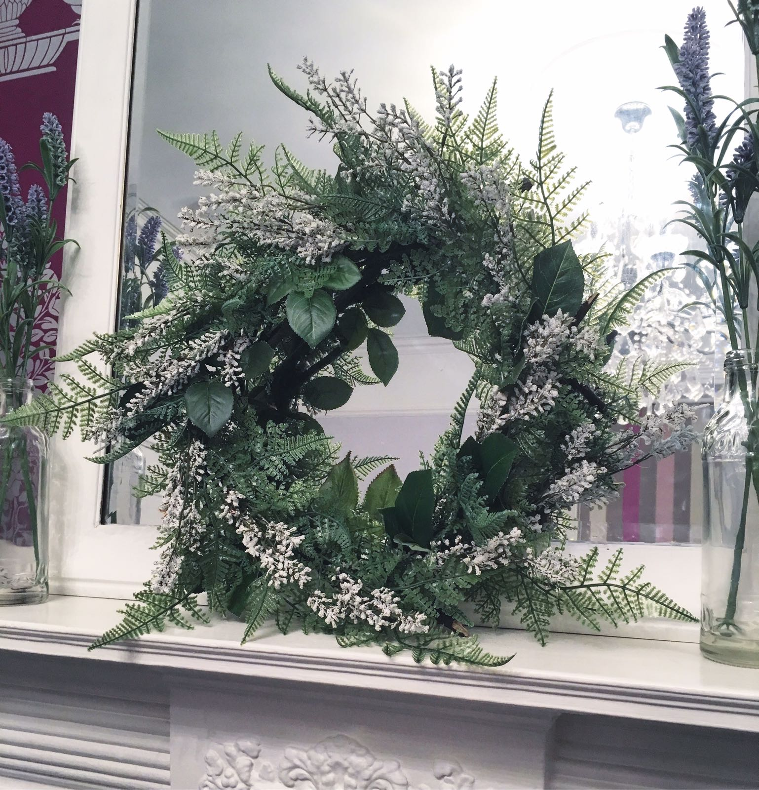 Step 6: - The additional of some subtle white foliage makes this wreath a real beauty. You can add so many bits to a festive wreath to make it totally unique to you!