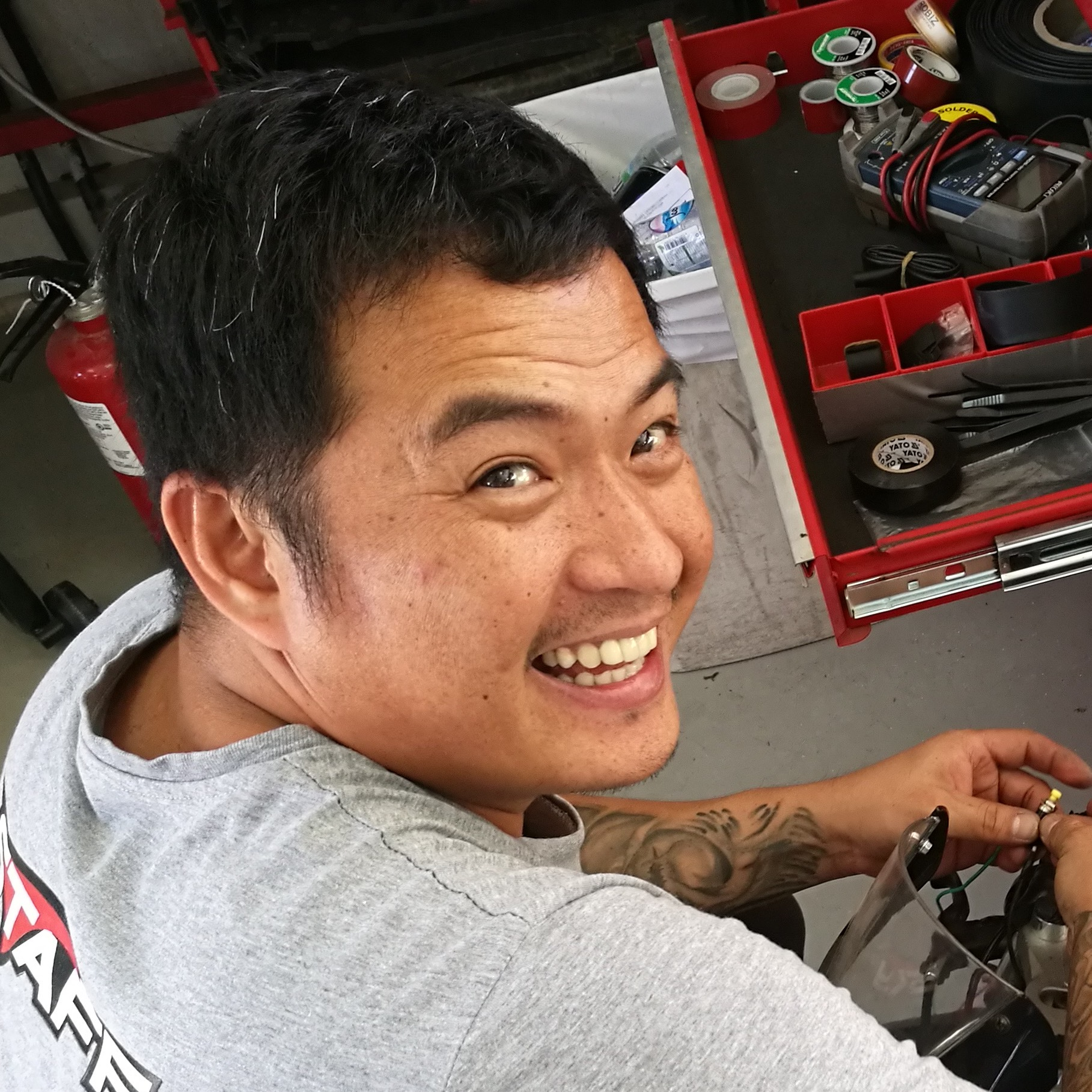 ARIS TIMBOL    Mechanic   If you have a broken engine, bike or a space shuttle, Aris can fix it. Being involved in rally bikes and endurance races, granted him great knowledge in mechanic science.