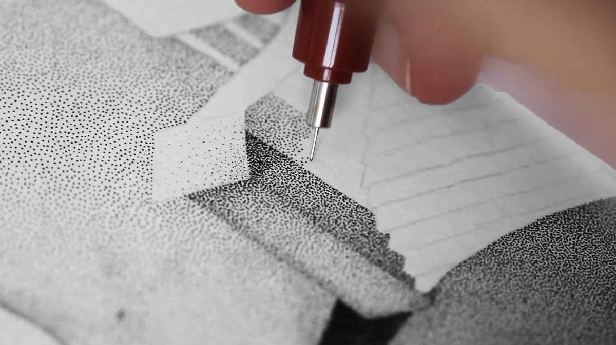 David Bayo Stippling Drawing