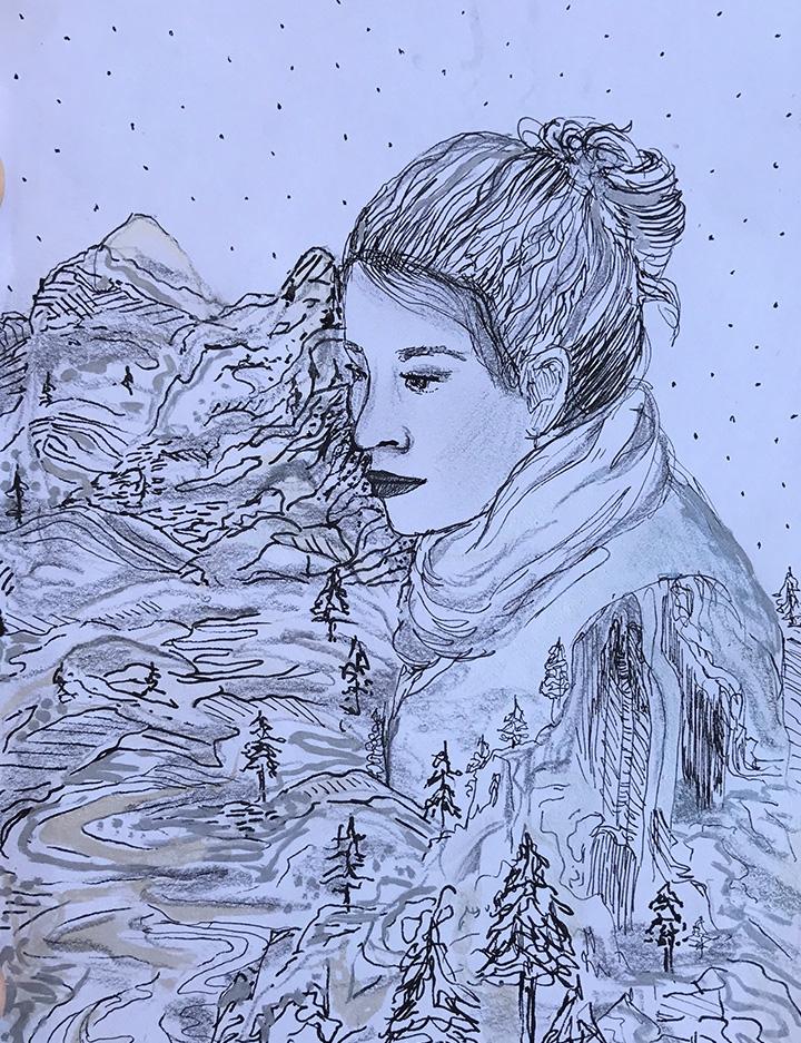 Girl and Mountain.JPG