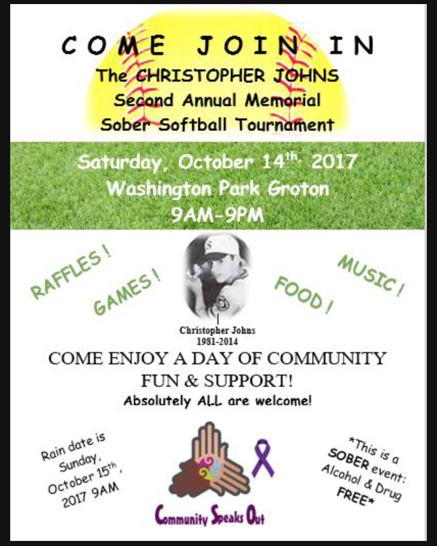 2ND ANNUAL CHRISTOPHER JOHNS SOBER SOFTBALL TOURNAMENT