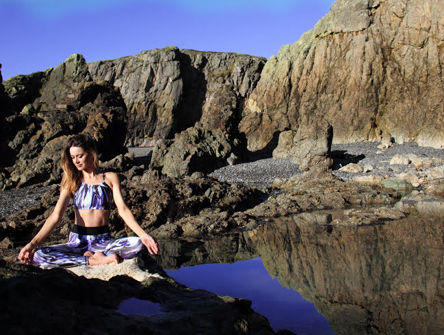 Photo taken by Sorcha Gillet at Red Rock Beach Howth Cliff. Leggings and Top from Mona Swims