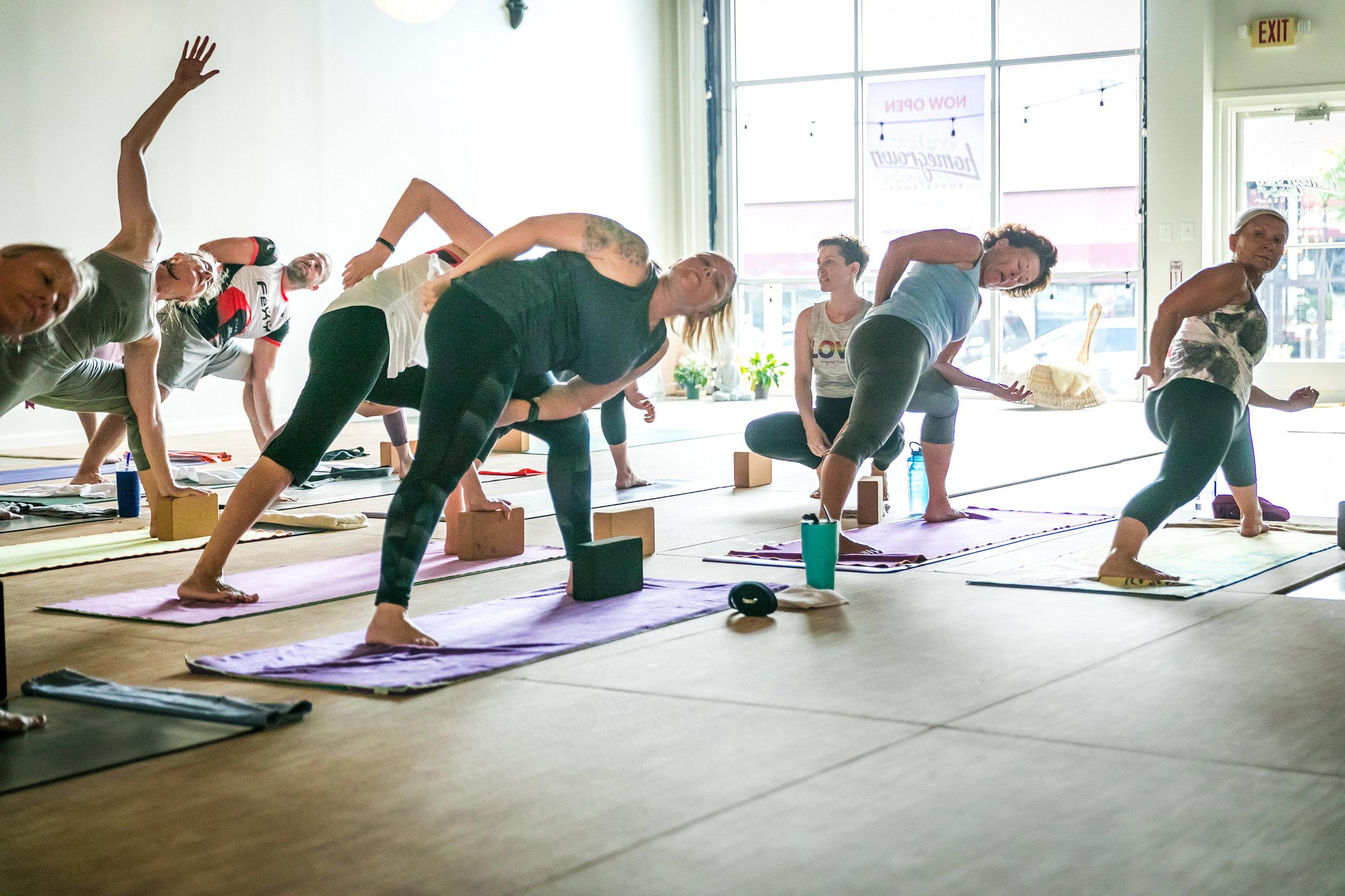 Alison Adams Homegrown Power Yoga teacher and founder teaching a class