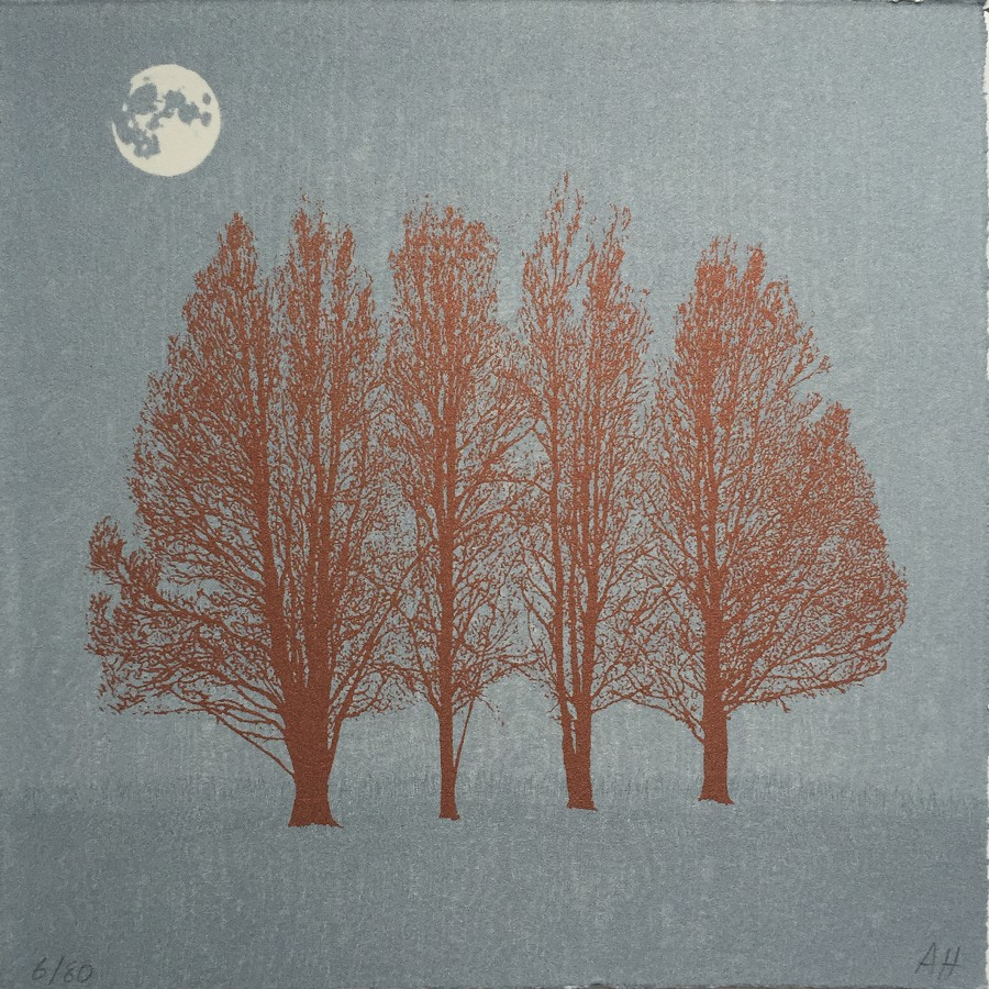 Blue moon. Screen print by Anna Harley