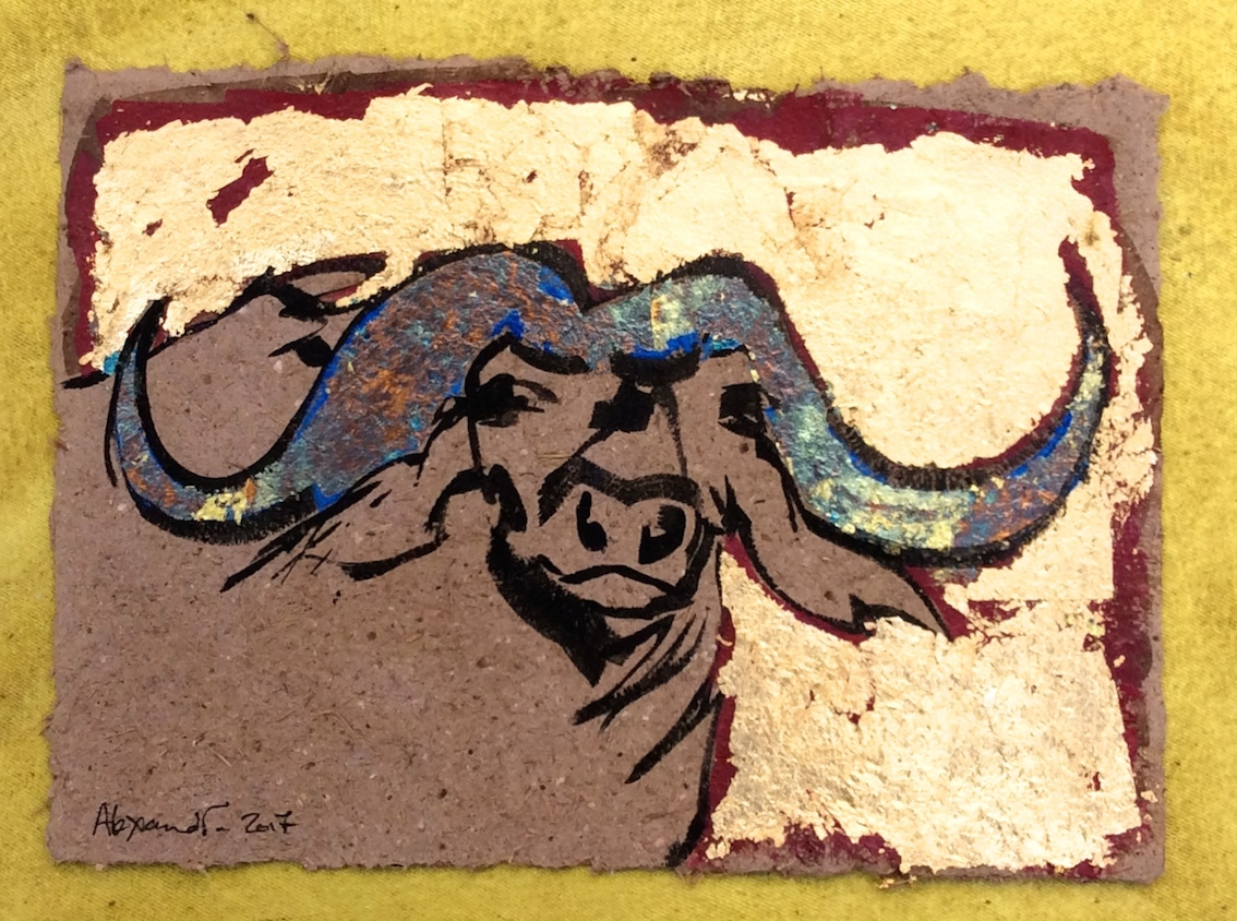 Buffalo Fun (on elephant dung paper) by Alexandra Spyratos
