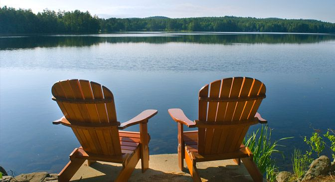 adirondack chair near the lake