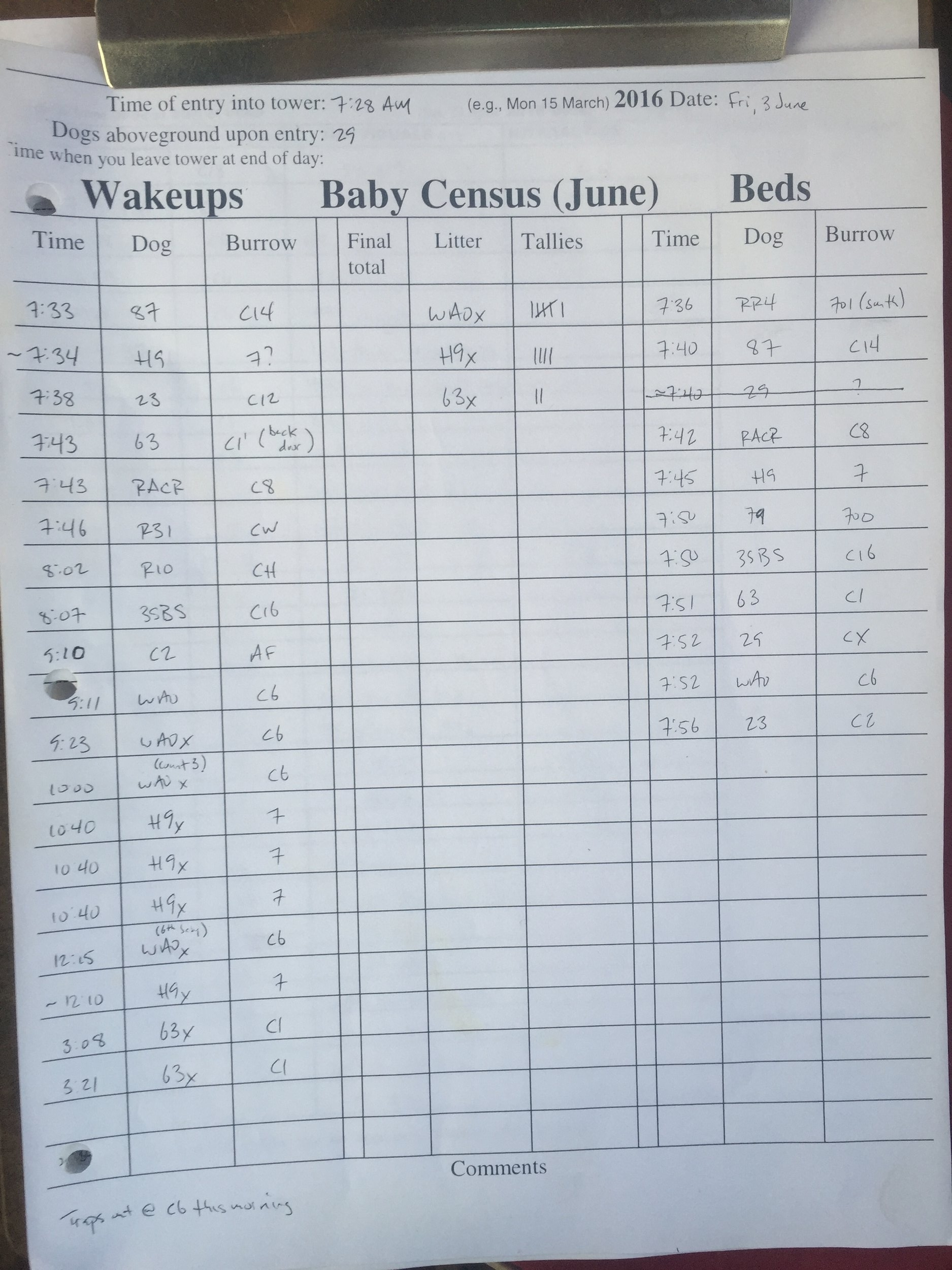 A Wakeup/Bed and Baby Census datasheet.  ©MRR 2016