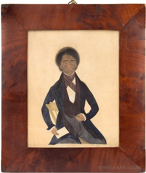 """Mr. Baltimore, 19th Century Portrait of African-American Gentleman, American School,"""" Mr. Baltimore of Troy NY."""" Artist Yet Unknown, Watercolor on paperboard."""