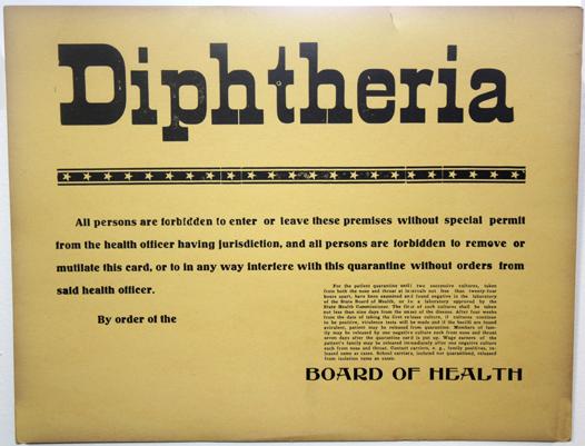 Rare Diphtheria Quarantine Poster