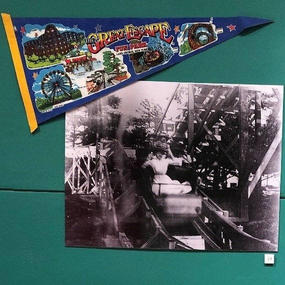 Banner for the Great Escape  Image of the Roller Coaster at Knickerbacker Park, Troy