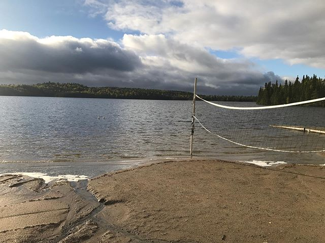 We have had so much rain this past month! Dogtooth lake is at an all time high! Check out the photo taken today and the one taken in August! Notice the volleyball net post!