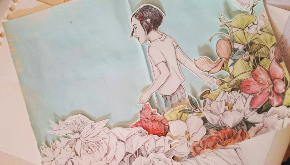 Las tres piezas de esta ilustración, que me apeteció colorear, recortar y montar manualmente a posteriori.