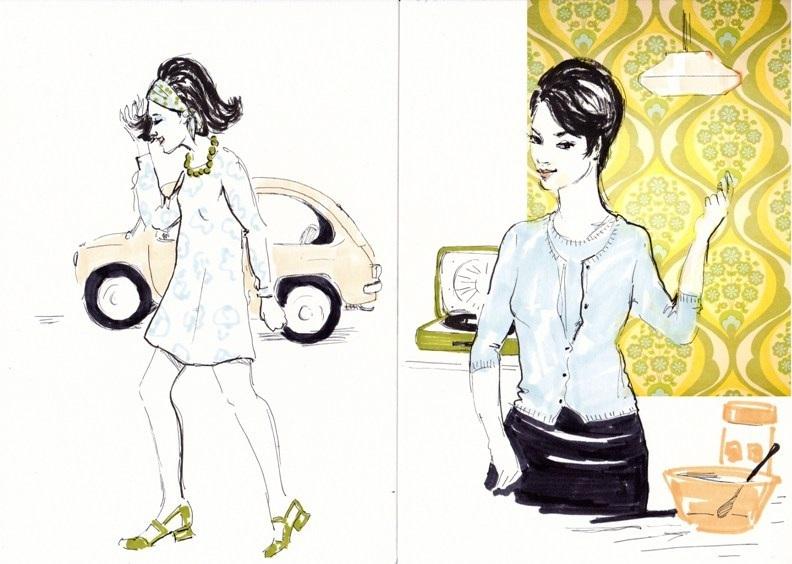 Bocetos de ambientes y personajes