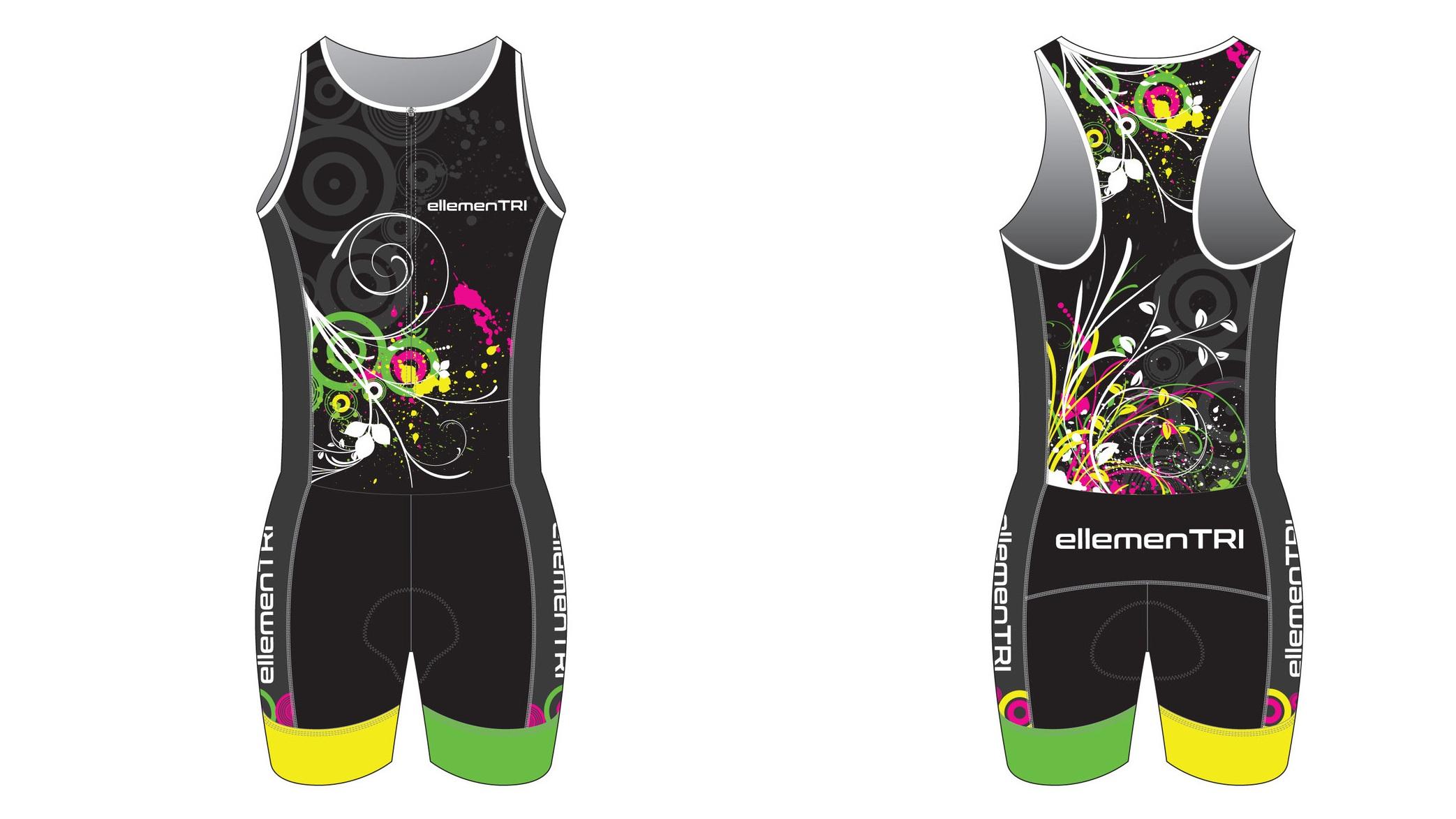 ellementri floral blue womens triathlon trisuit