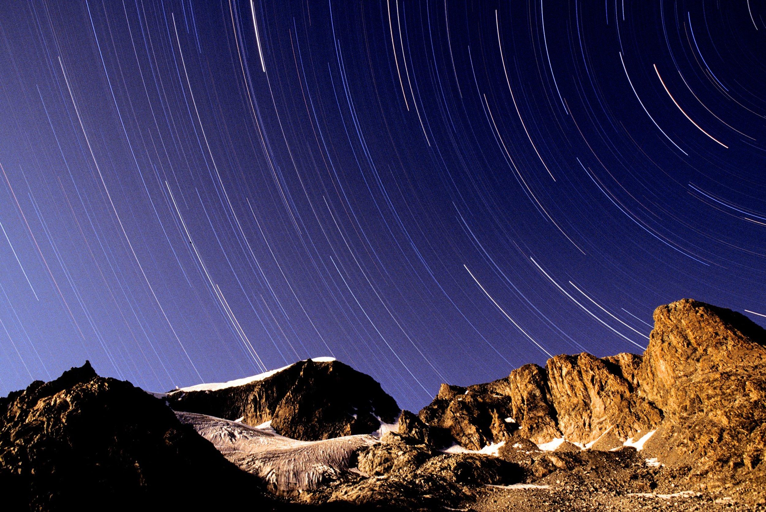 Star trails over Gannet Peak, Wind River Range, WY.