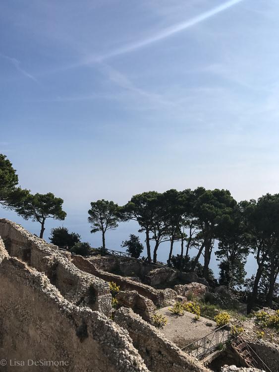 Ruins at Villa Jovis, perched on a cliff edge.