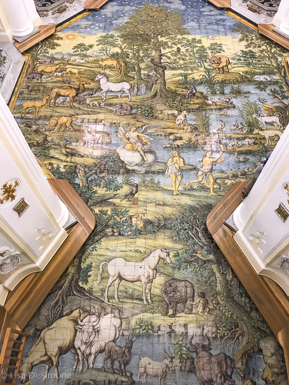 The floor of the Church of San Michele, depicting the expulsion of Adam and Eve from the Garden of Eden
