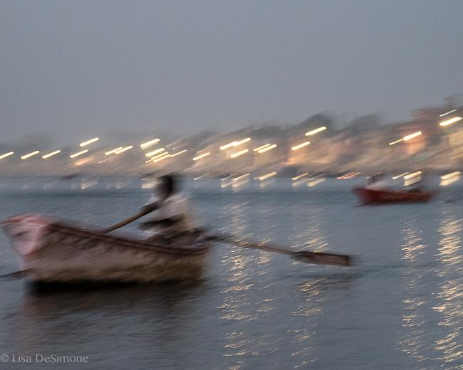 Predawn boats on the Ganges River: Varanasi, India.