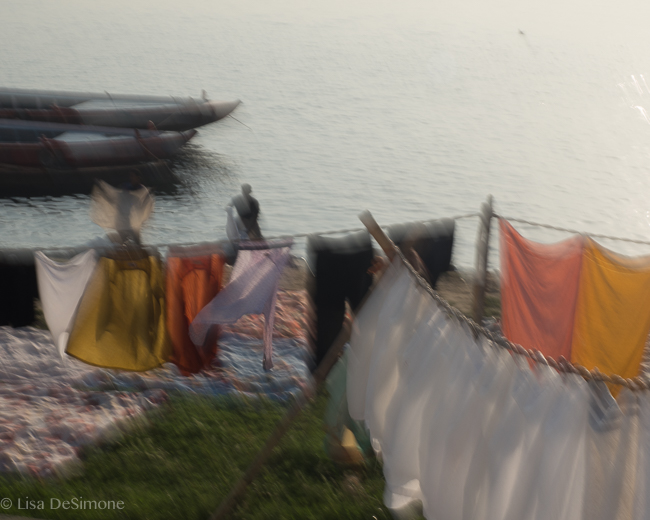 Early morning laundry on the Ganges River in Varanasi, India