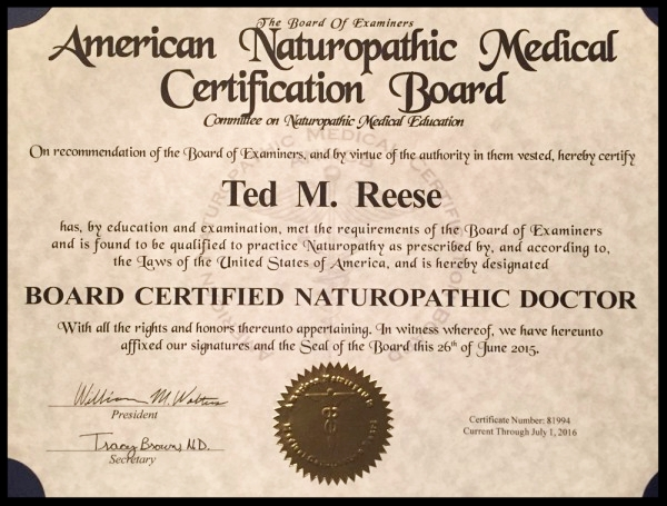 American Naturopathic Medical Certification Board certificate for Board Certified Naturopathic Doctor,