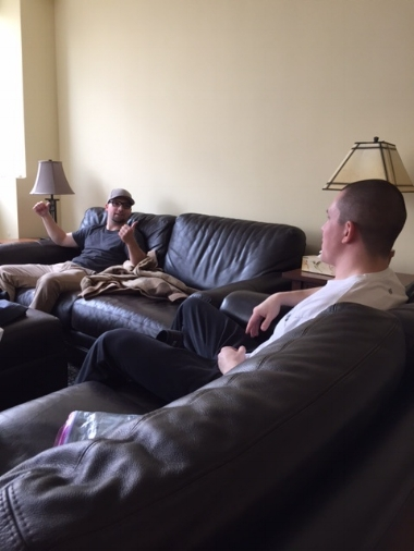 Chris and Mike relaxing and bonding over  ACL surgeries