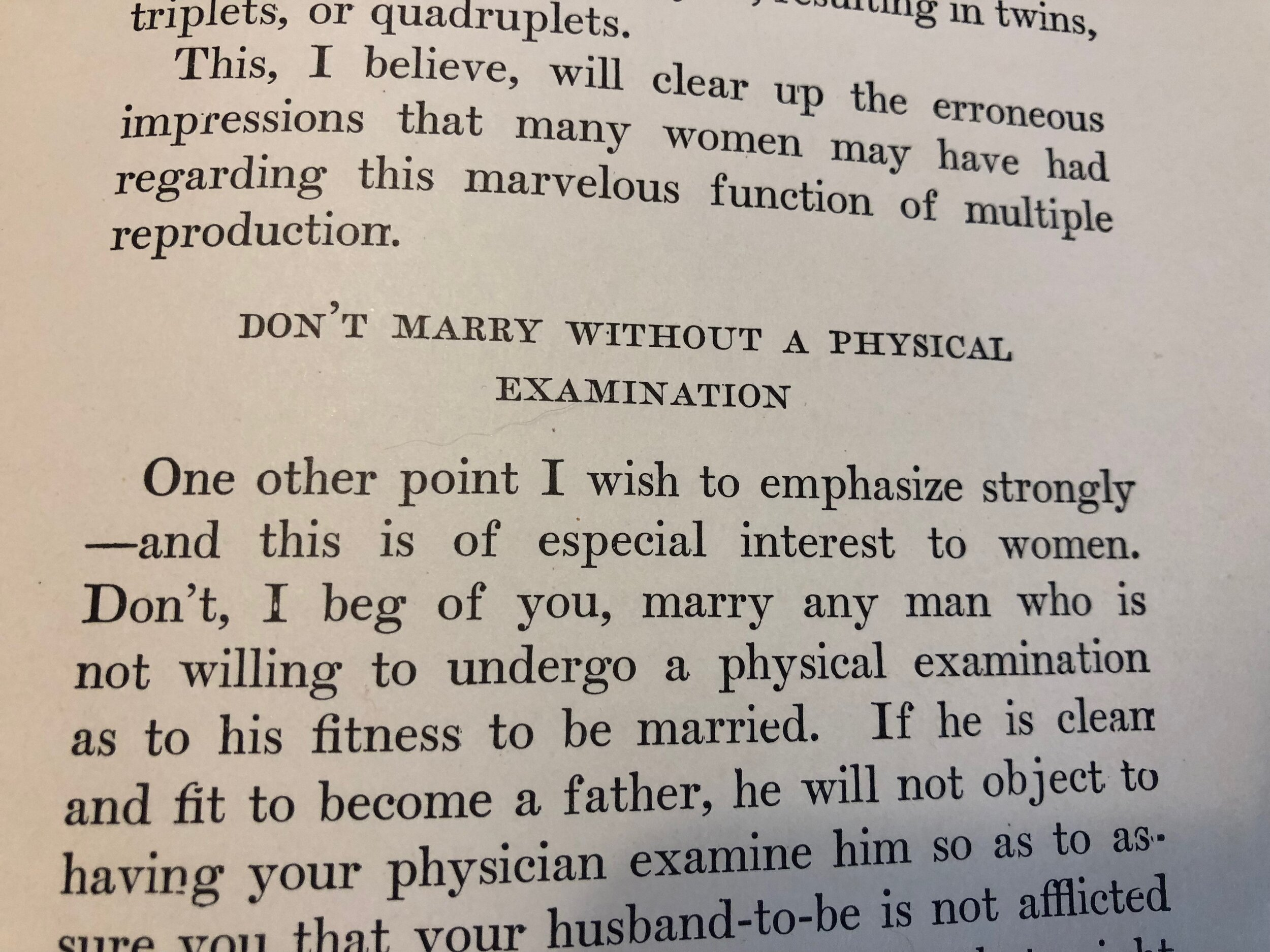 Don't marry without a physical examination first!