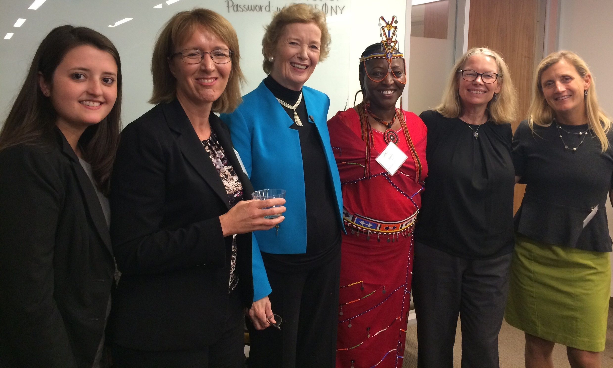 Pictured from left to right: Hilary Heath, Heather McGray, Mary Robinson, Agnes Leina, Heather Grady, and Anne Henshaw