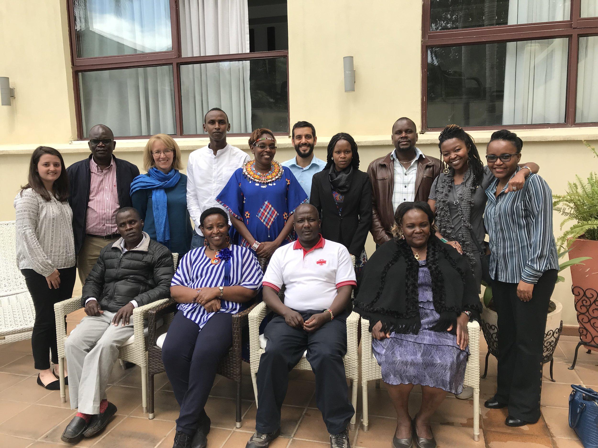 From Left to Right Bottom Row:  Kisilu Musya ( Thank You For The Rain ), Agnes Leina ( Il'laramatak Community Concerns ), John Tingoi ( IMPACT ), Violet Shivutse ( Shibuye Community Health Workers )   From Left to Right Top Row:  Hilary Heath ( CJRF ), Nicholas Abuya ( Christian Aid Kenya ), Heather McGray ( CJRF ), Yussuf Bashir ( Haki Na Sheria ), Jane Meriwas ( Samburu Women Trust ), Gino Cocchiaro ( Natural Justice ), Elizabeth Silakan ( IMPACT ), Dr. John Kitui ( Christian Aid Kenya ), Emily Wanja ( Docubox ), Rita Kahurananga ( Oak Foundation )