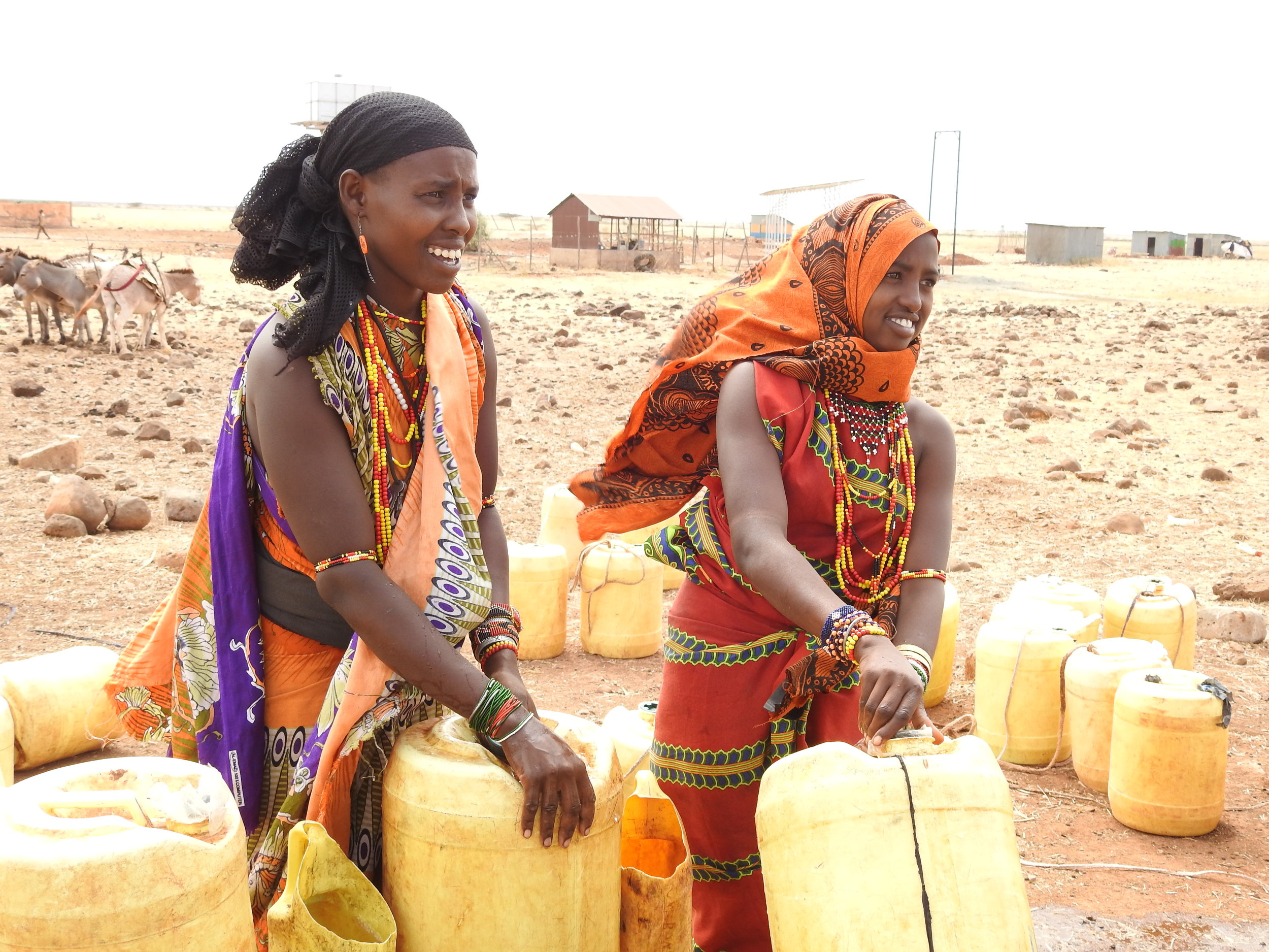 Women fetching water for their domestic us at Burgabo Borehole.jpg