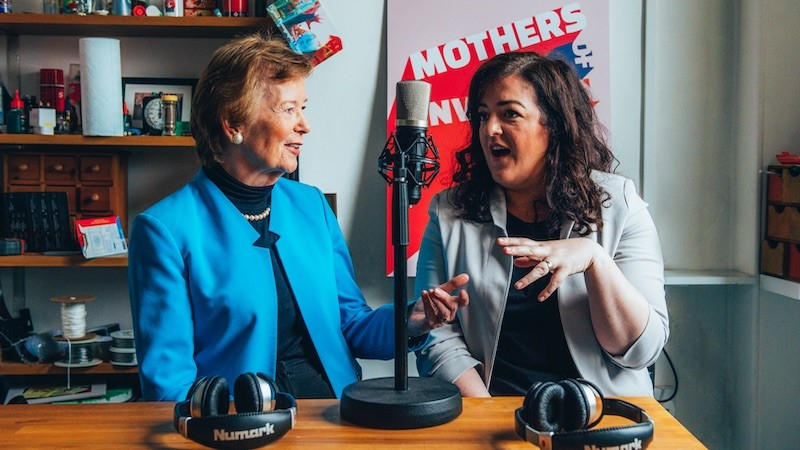 Mary Robinson and Maeve Higgins, hosts of Mothers of Invention (Photo: Ruth Medjbe/ Doc Society)