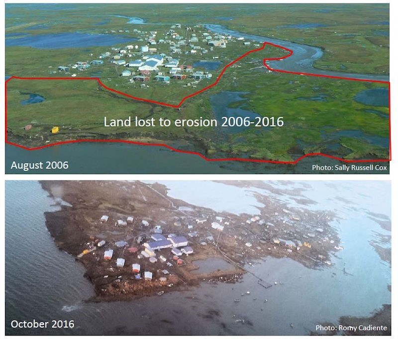 Coastal erosion between 2006 and 2016 as a result of usteq in Newtok, Alaska (Photo: Sally Russell Cox/Romy Cadiente)
