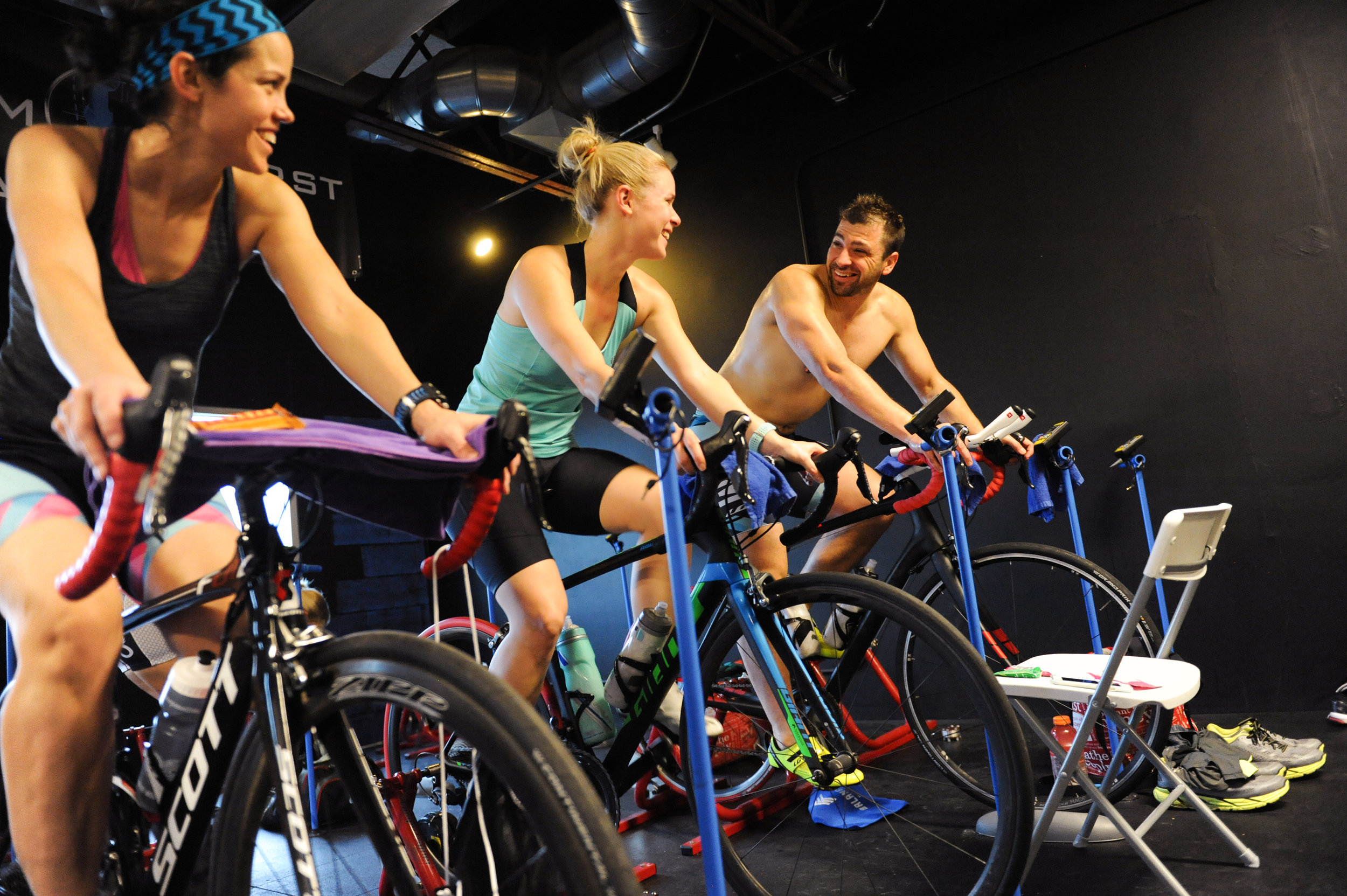 At BAM HQ, all you need is your bike. We have several Wahoo KICKRs and CompuTrainers you can reserve for weekend rides.