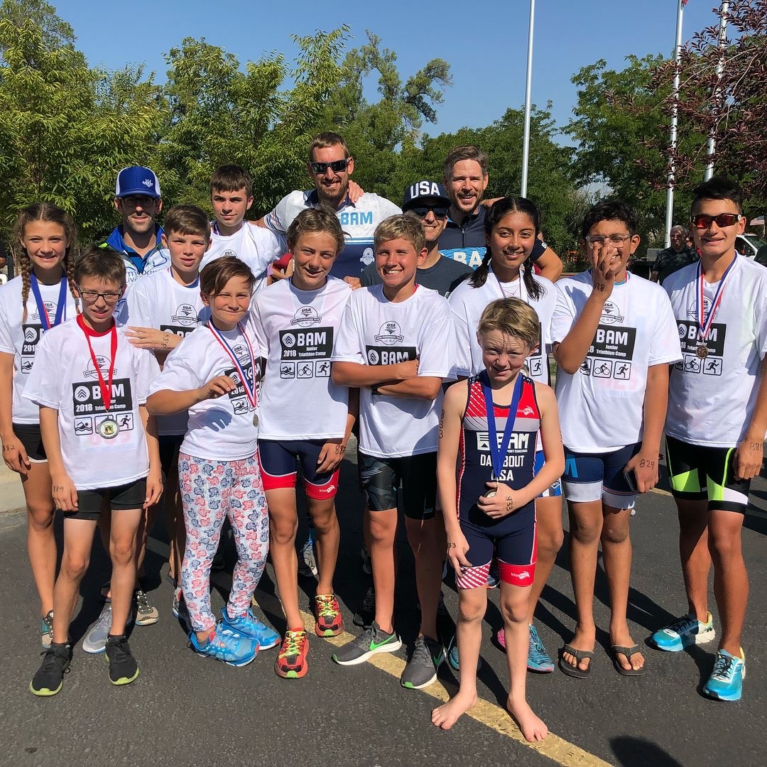 Coaches Wes, Andrew and Bill with several Youth Tri Campers at the 2018 Murray Youth & Family Triathlon