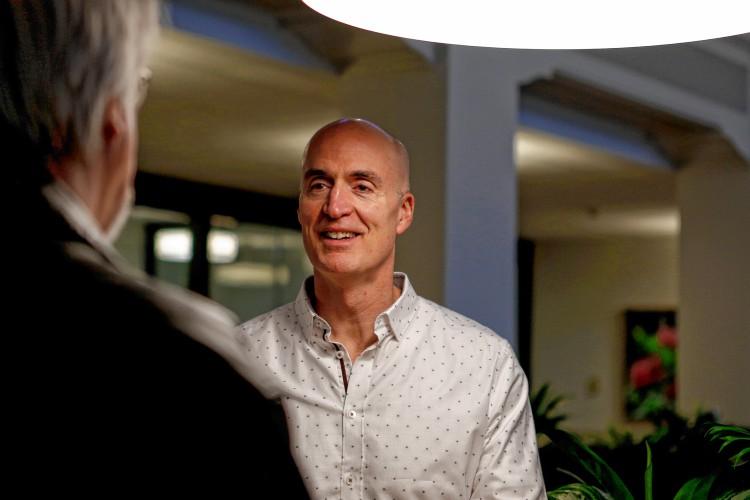 Steve Garrow of Kayon Accelerator talks with Eric Crawley of Amherst at AmherstWorks.  GAZETTE STAFF/SARAH CROSBY