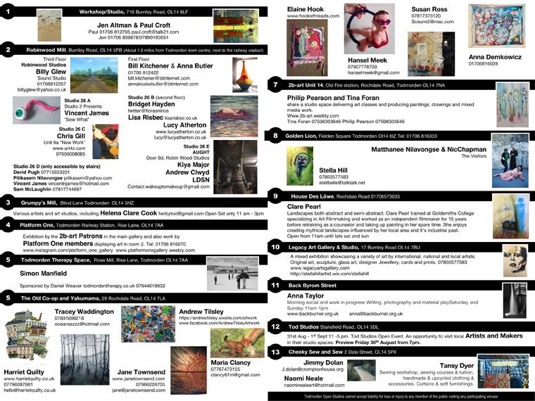 Artists Listings for Pop Up Todmorden Open Studios 2019