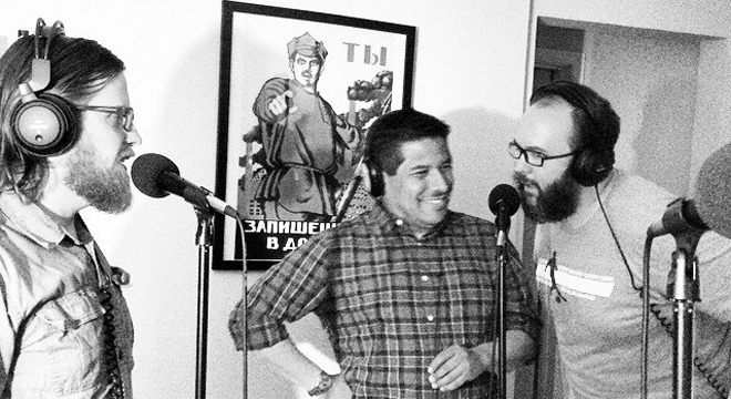 Lance Gilstrap, David Jara, and Jericho Thorp lay some jokes on wax during a Victrola recording session.