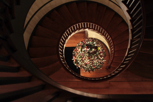 shaker village staircase | Em's on the Road