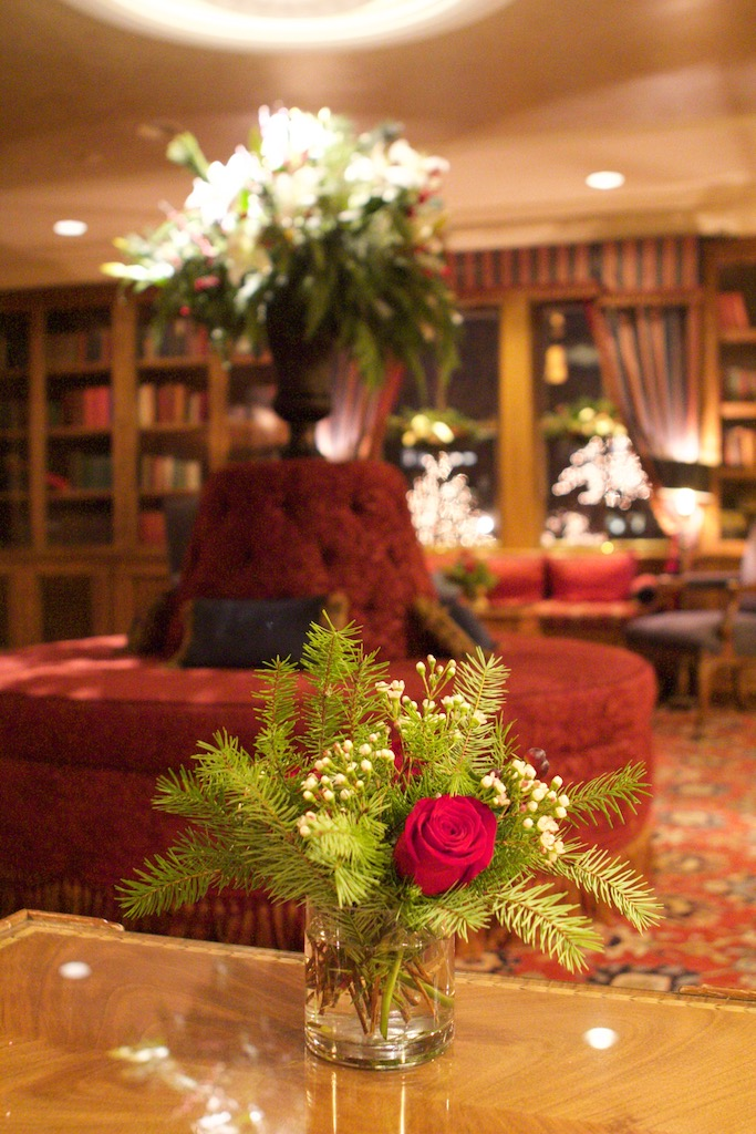 The Library Bar decorated for Christmas at American Club Resort