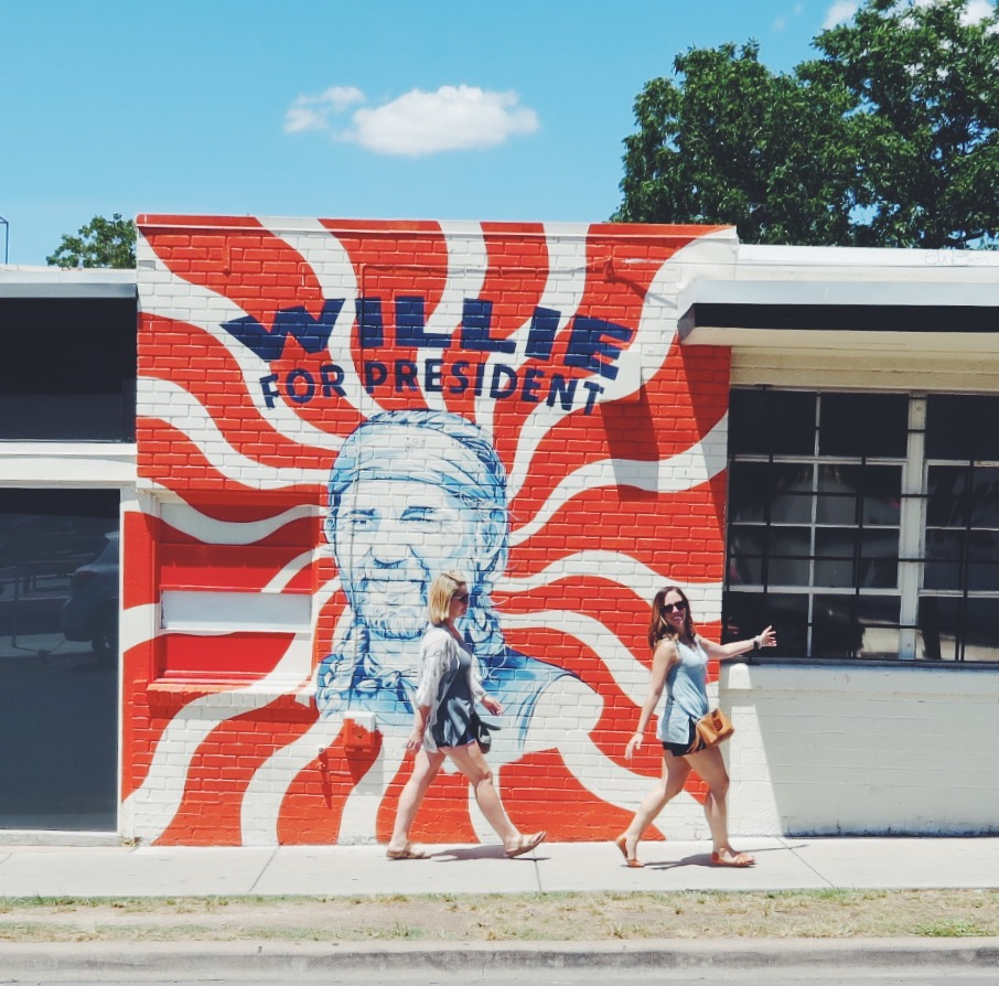 Willie for President Mural on South Congress Ave in Austin, Texas