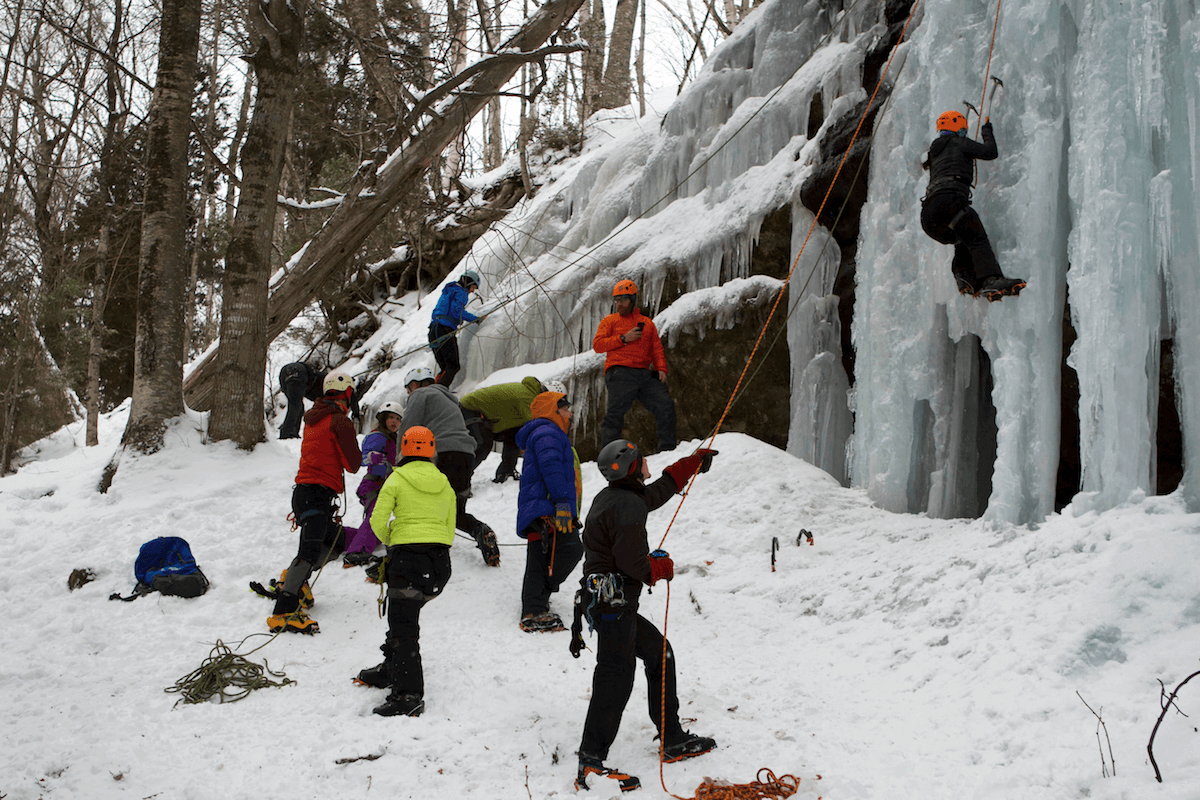 Group of ice climbers at Pictured Rocks National Lakeshore